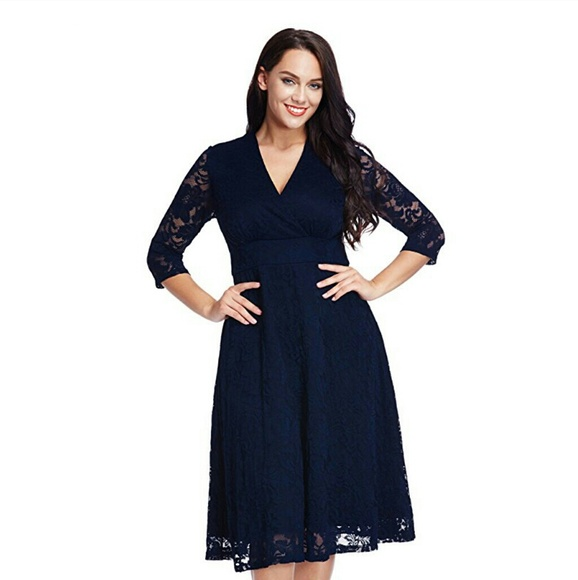 FLORENCE Plus Size Navy Lace Dress Boutique